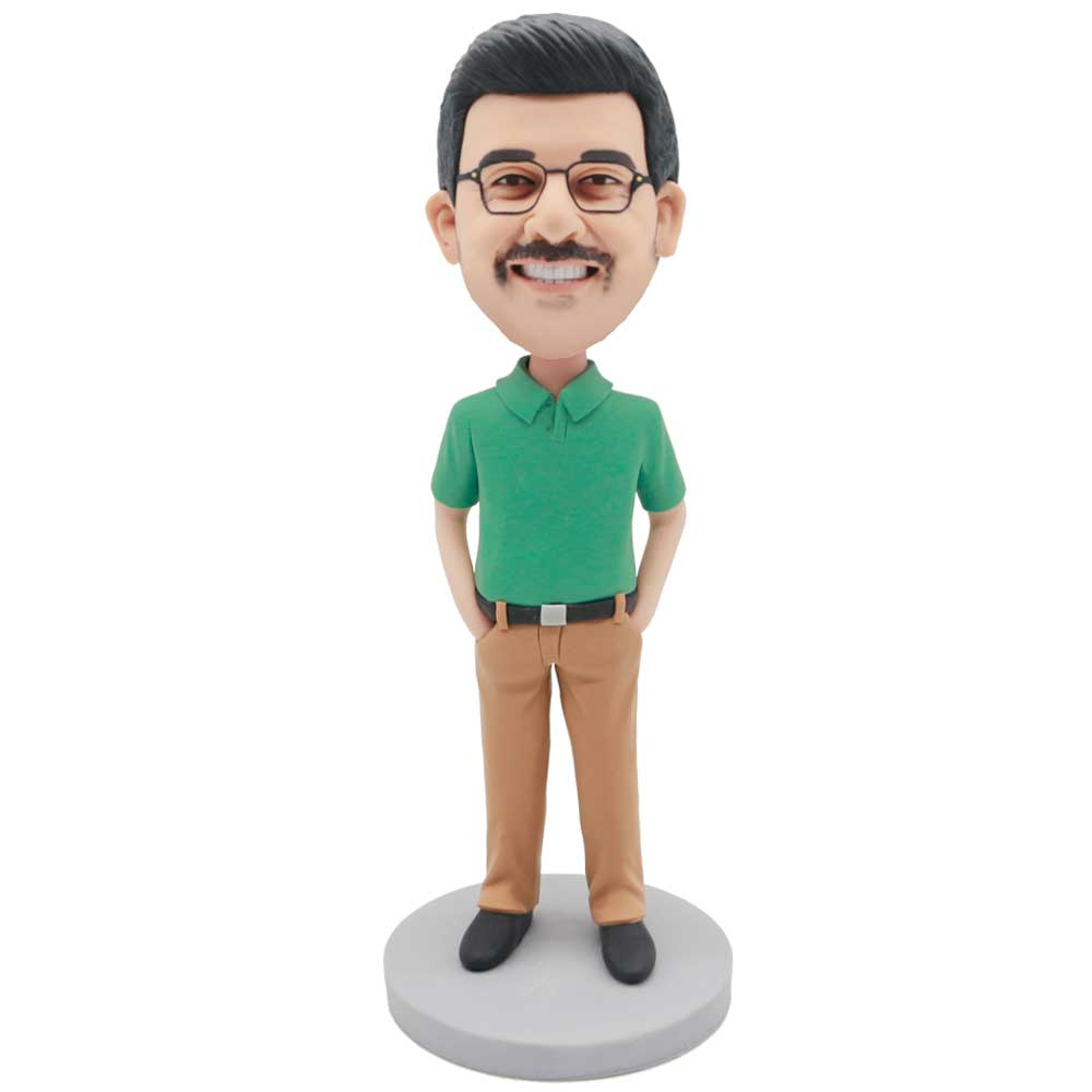 Custom-Male-Bobblehead-In-Green-T-shirt-And-Hands-In-Pockets