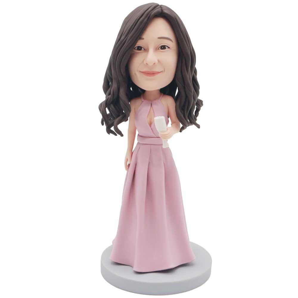 Custom-Elegant-Female-Bobblehead-In-Pink-Evening-Dress