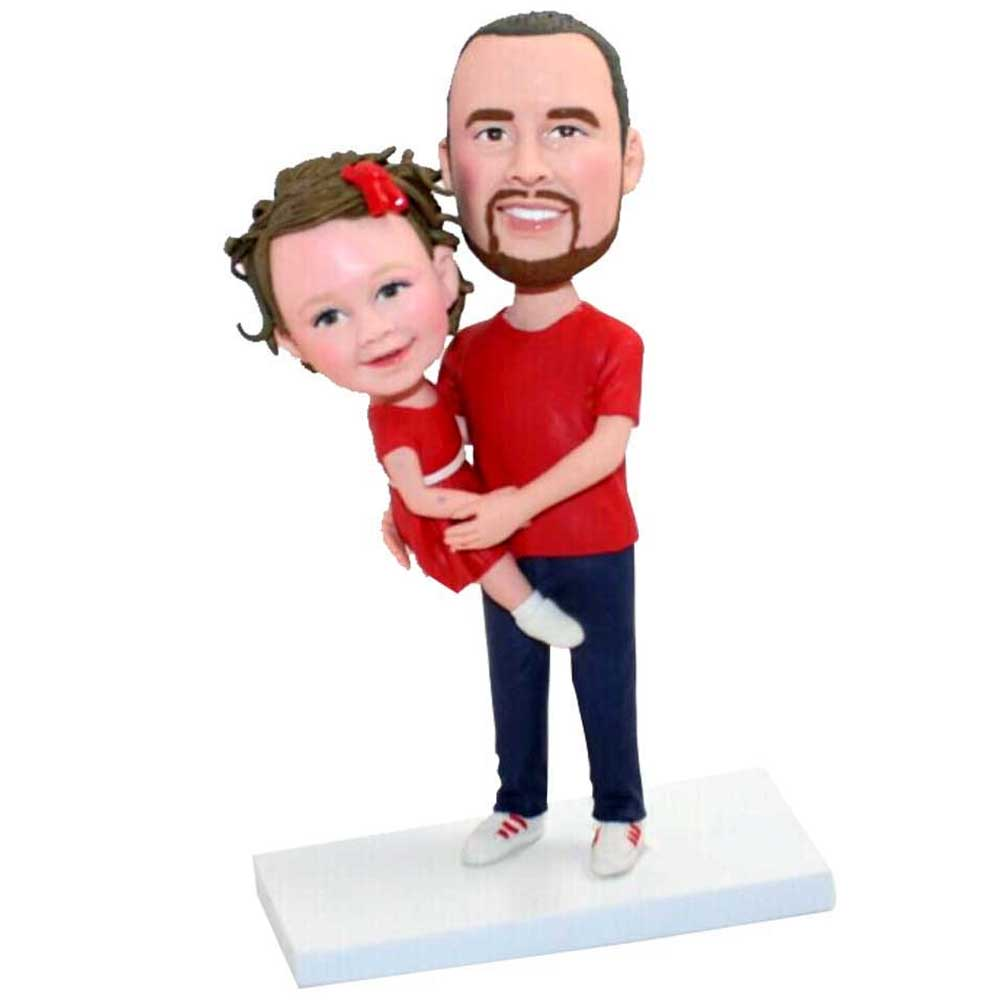 Custom-Father-Held-His-Daughter-Bobblehead-In-Red-T-Shirt