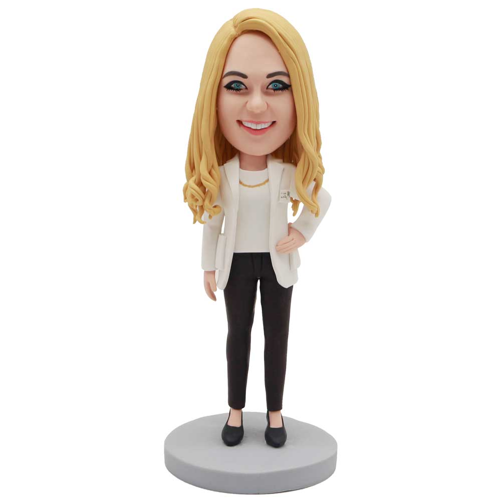 Custom-Female-Bobblehead-In-White-Suit-Jacket-And-One-Hand-Akimbo
