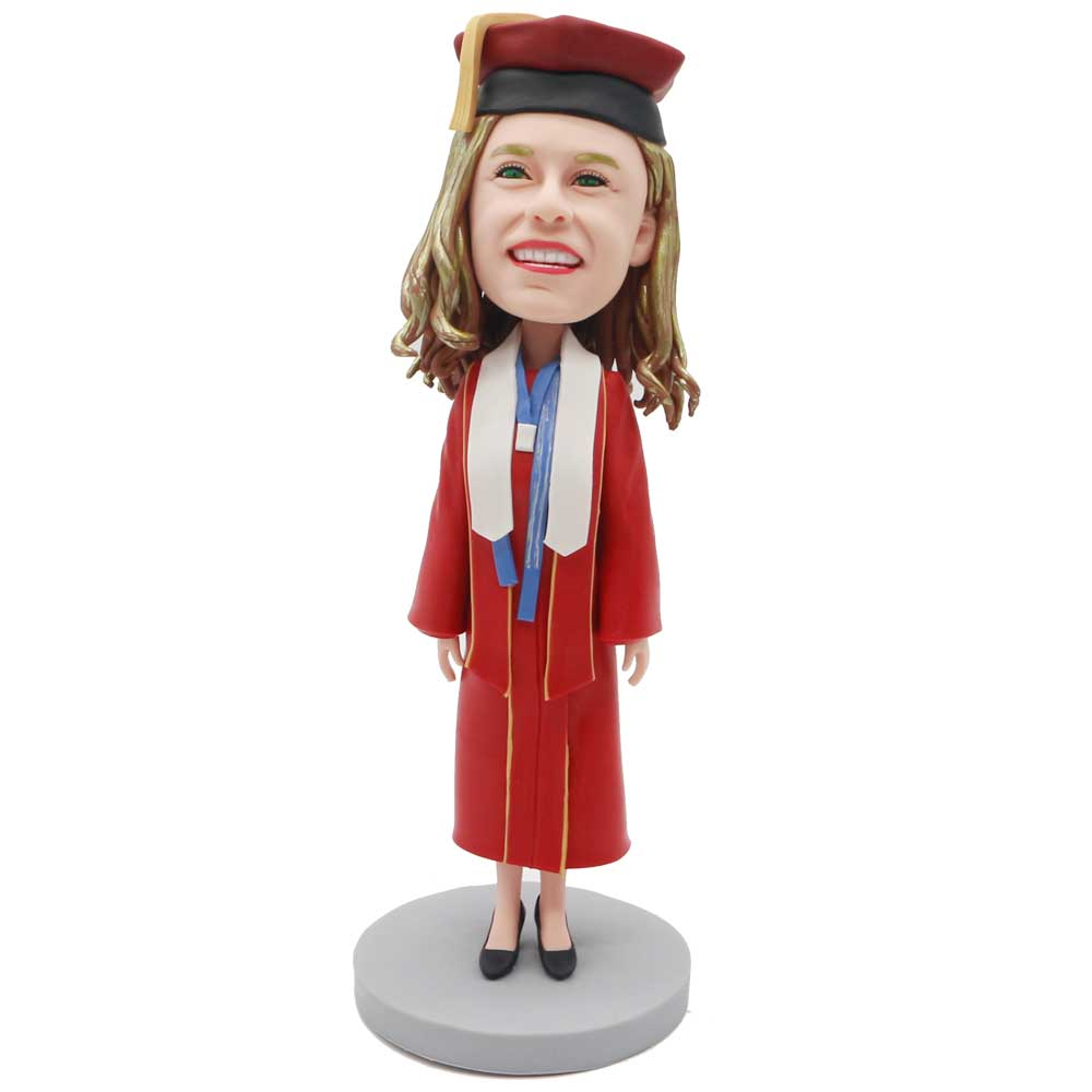 Custom-Female-Graduation-Bobblehead-In-Red-Gown-And-White-Streamers