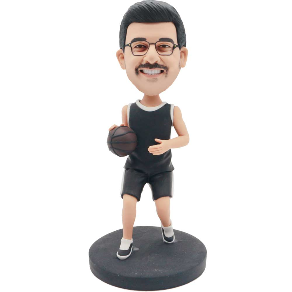 Custom-Male-Basketball-Player-Bobblehead-In-Black-Jersey-With-A-Basketball