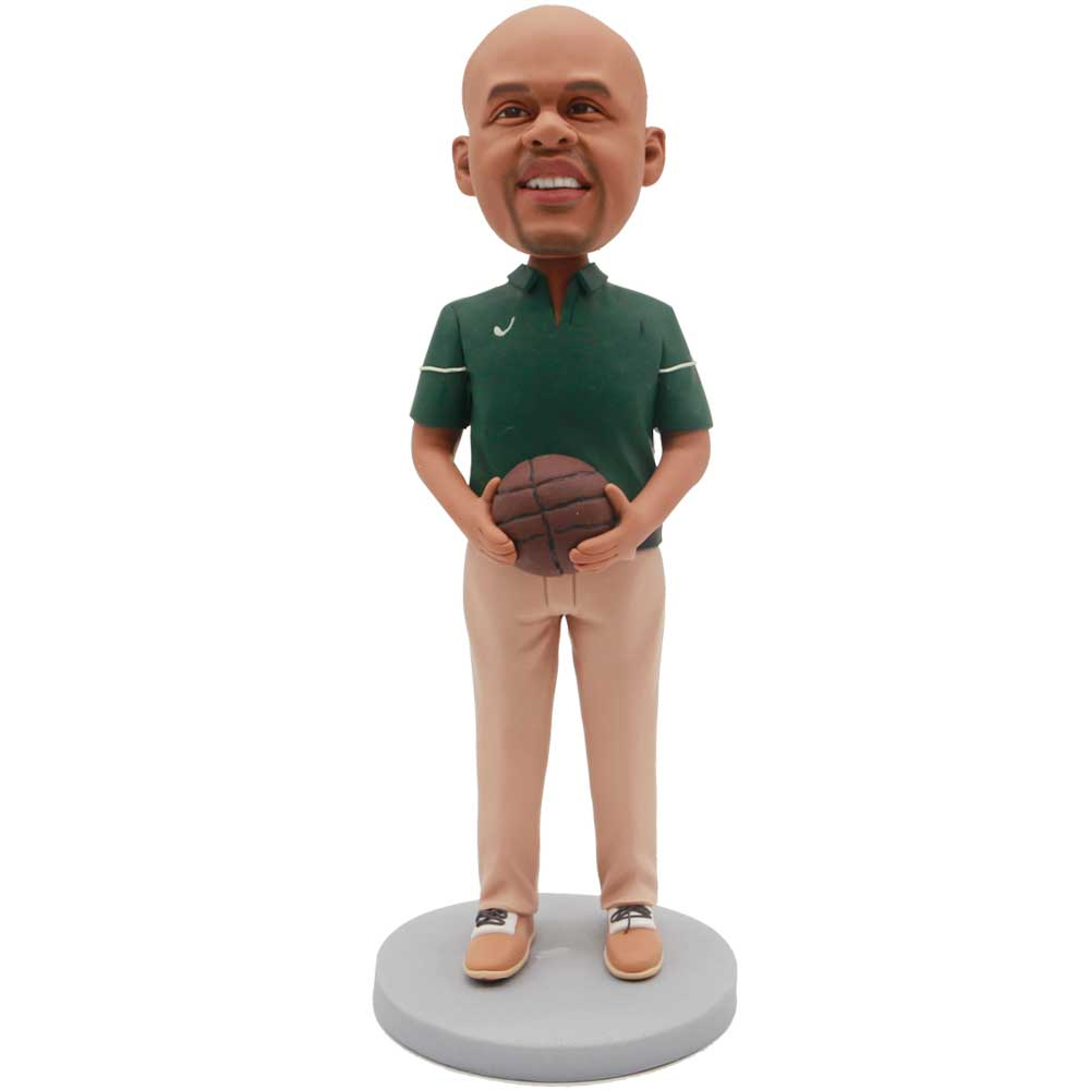Custom-Male-Basketball-Player-Bobblehead-In-Green-T-shirt-With-A-Basketball