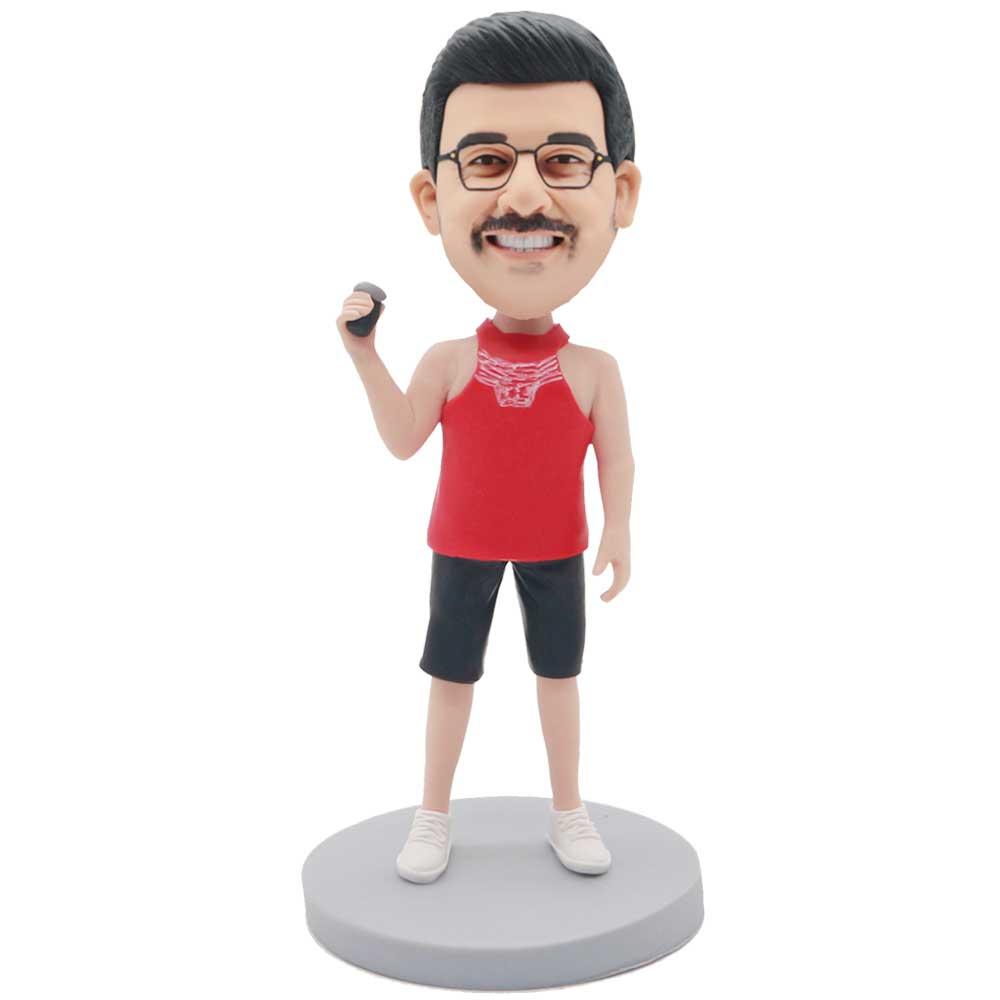 Custom-Male-Bobblehead-In-Red-Fitness-Vest-Holding-Wine-Glass