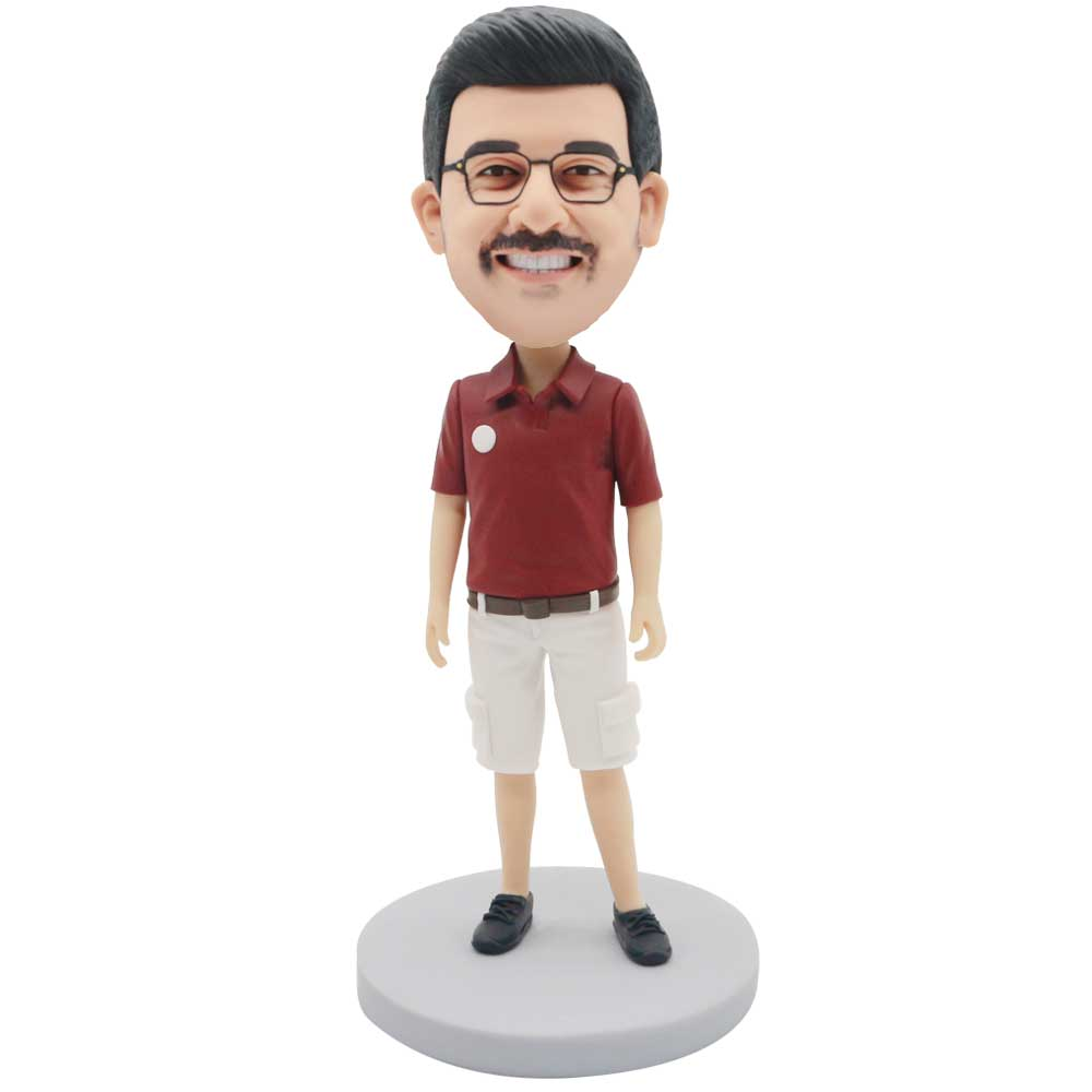 Custom-Male-Bobblehead-In-Red-T-Shirt-And-White-Shorts