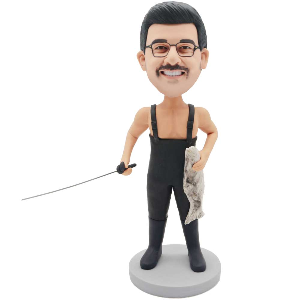 Custom-Male-Fishermen-Bobblehead-In-Fishing-Clothes-And-Holding-Fishing-Rod-And-Fish