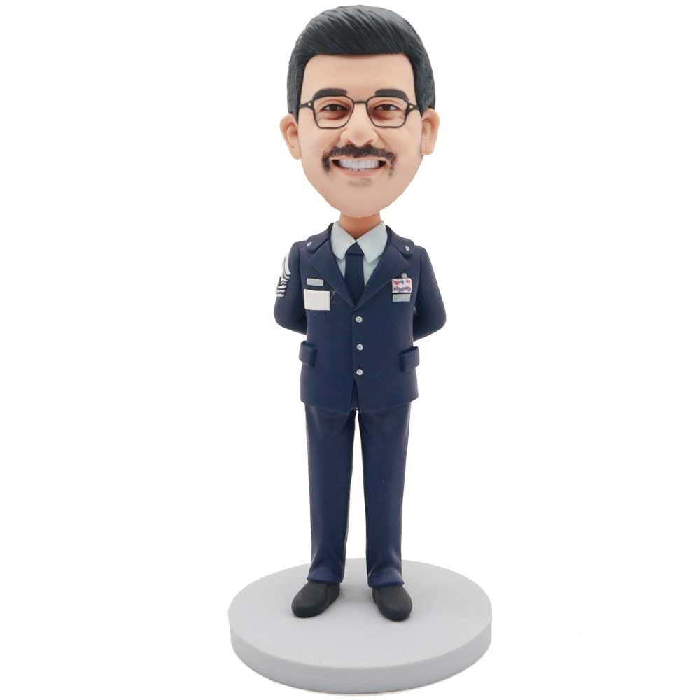 Custom-Male-Police-Bobblehead-In-Dark-Blue-Uniform-And-Arms-Behind-The-Body.