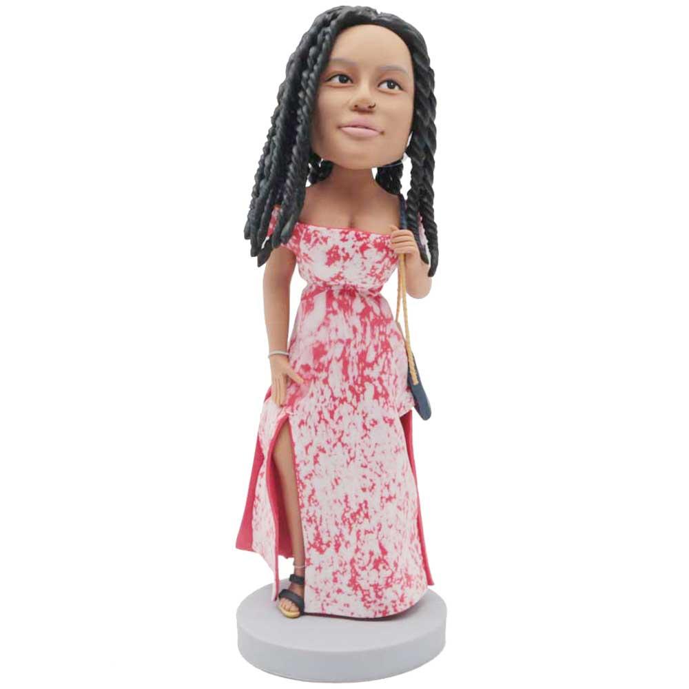 Custom-Female-Bobblehead-In-One-shoulder-Dress.