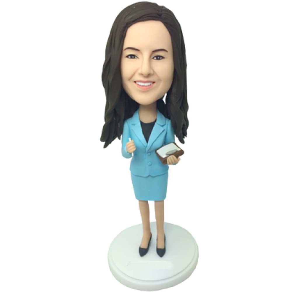 Custom-Female-Office-Secretary-Bobblehead-In-Blue-Business-Attire