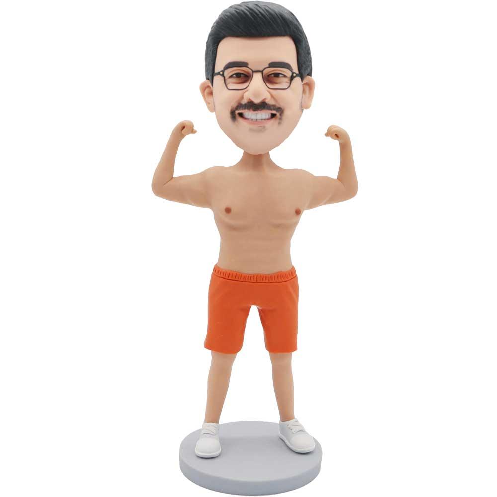 Custom-Male-Bodybuilder-Bobblehead-In-Orange-Shorts