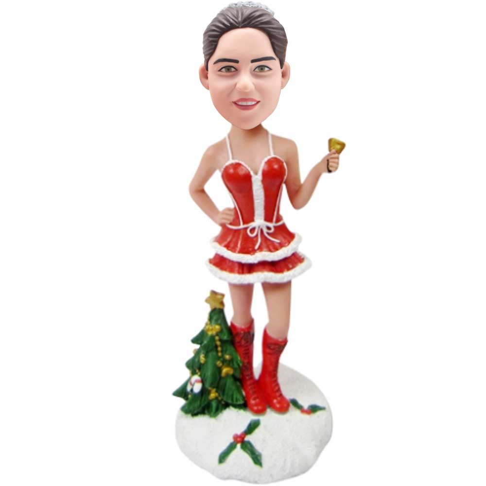 Custom-Female-Bobbleheads-In-Christmas-Dress-With-Christmas-Tree-And-Bell