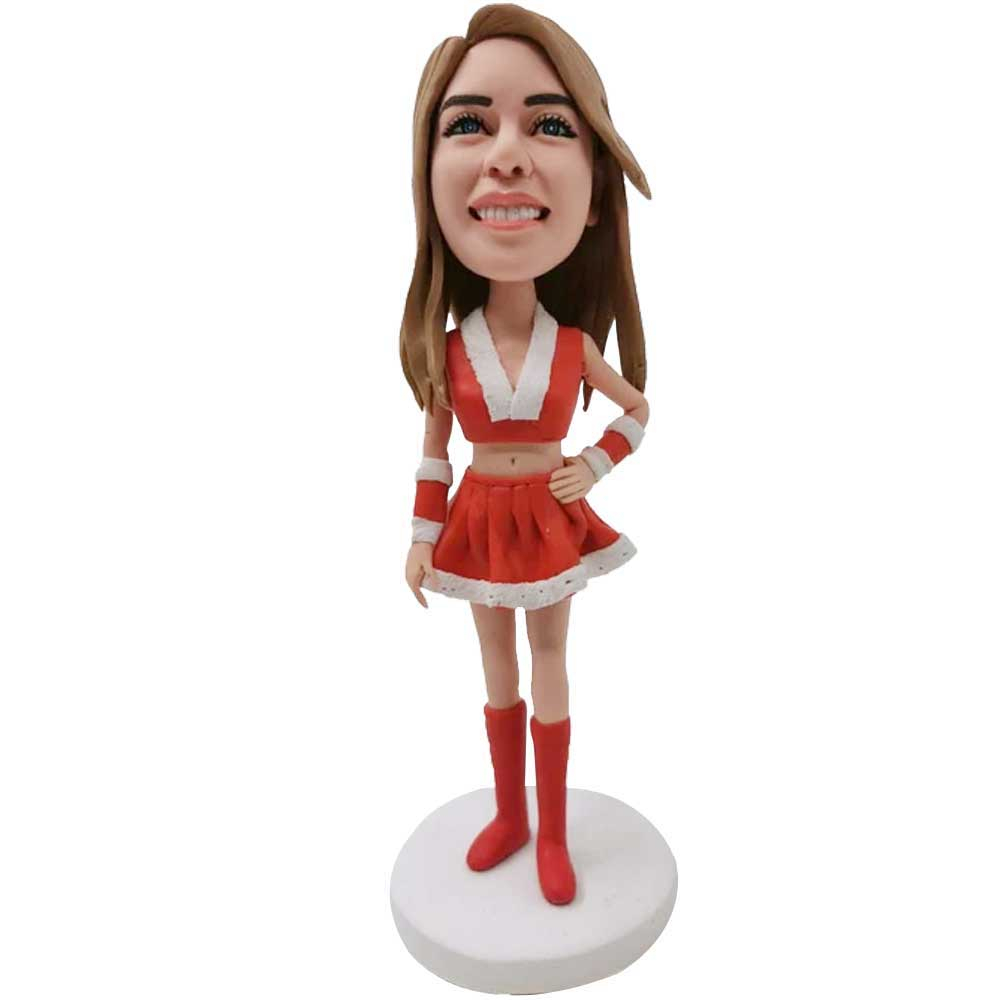 Custom-Female-Bobbleheads-In-Red-Christmas-Dress-And-One-Hand-On-Hip