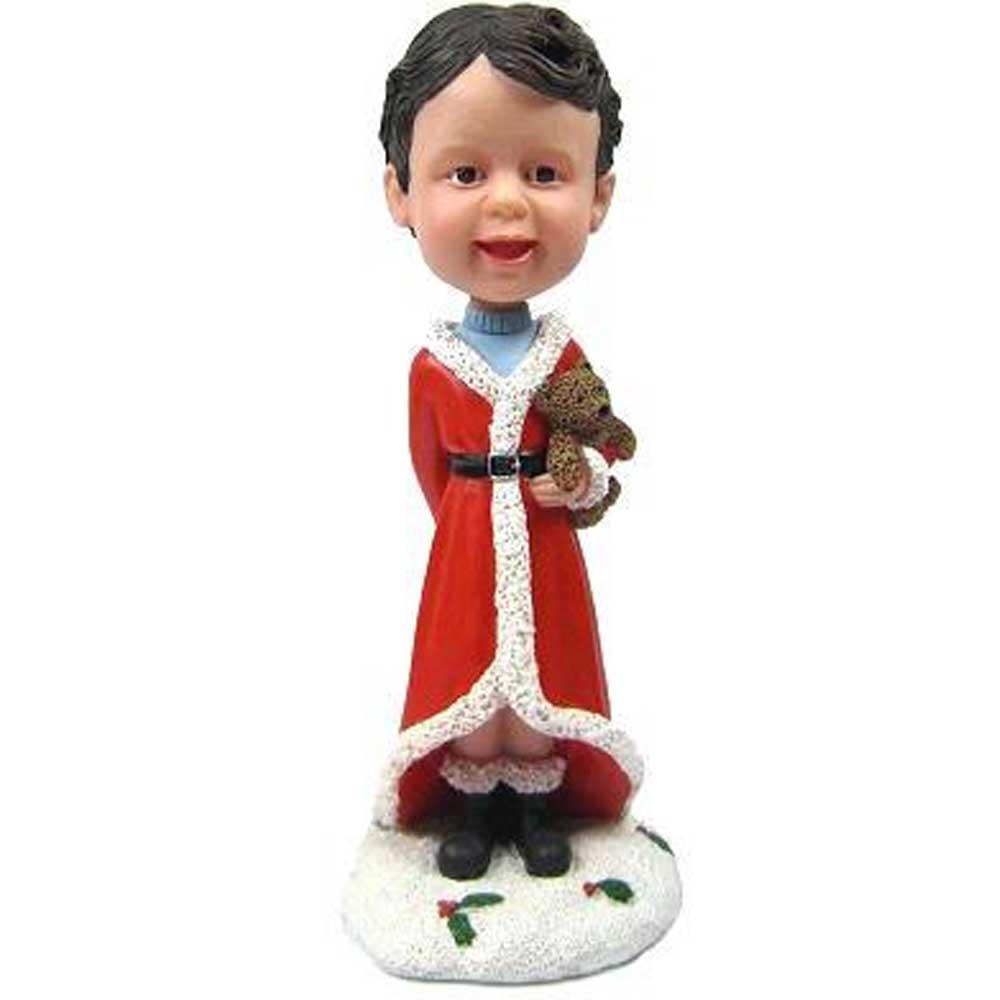Custom-Girl-Bobbleheads-In-Christmas-Robe-With-Bear-Doll.