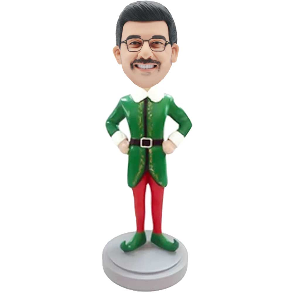 Custom-Male-Bobbleheads-In-Green-Christmas-Dress-And-Hands-On-Hips