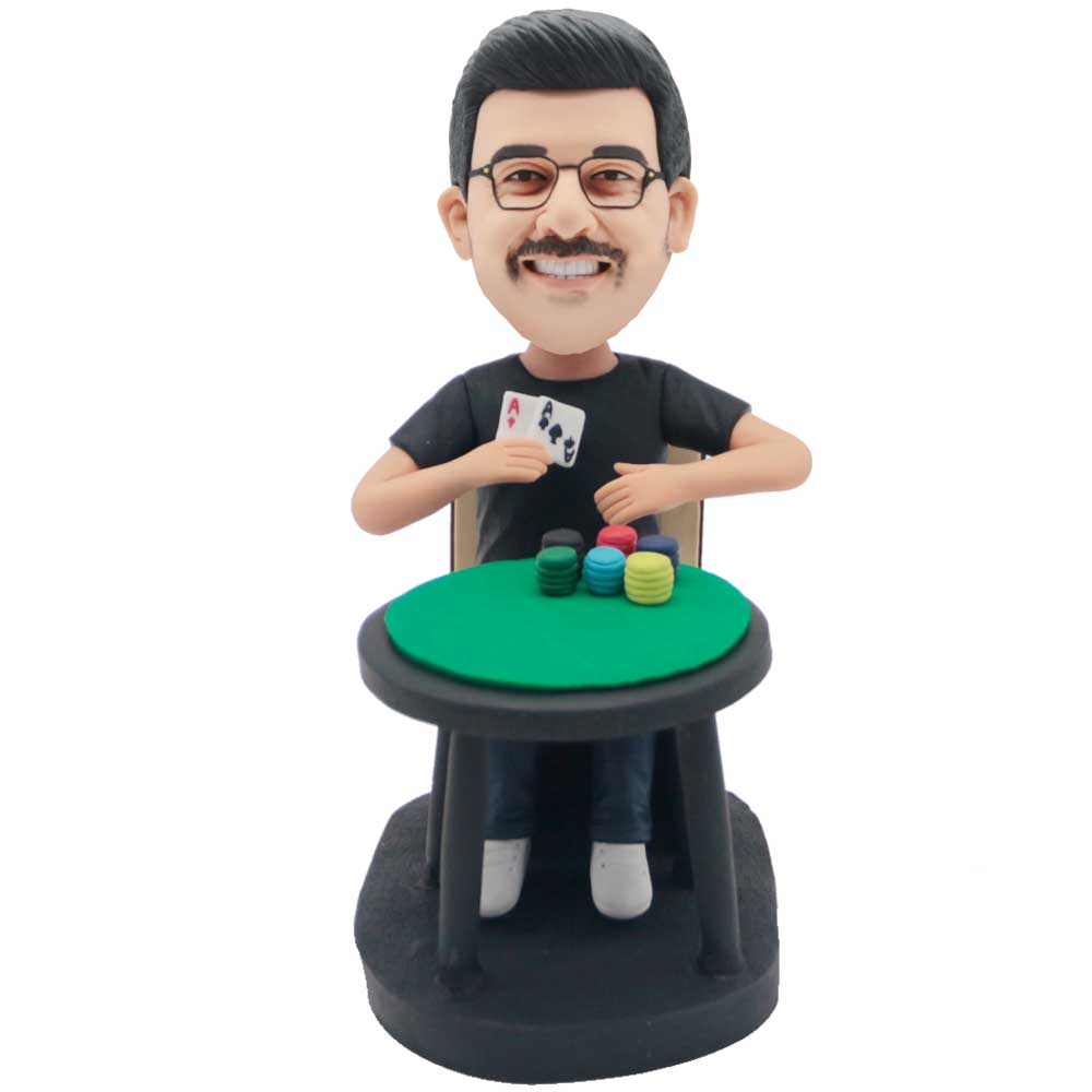 Custom-Male-Bobbleheads-Sitting-On-Chair-Playing-Cards-And-Sieve